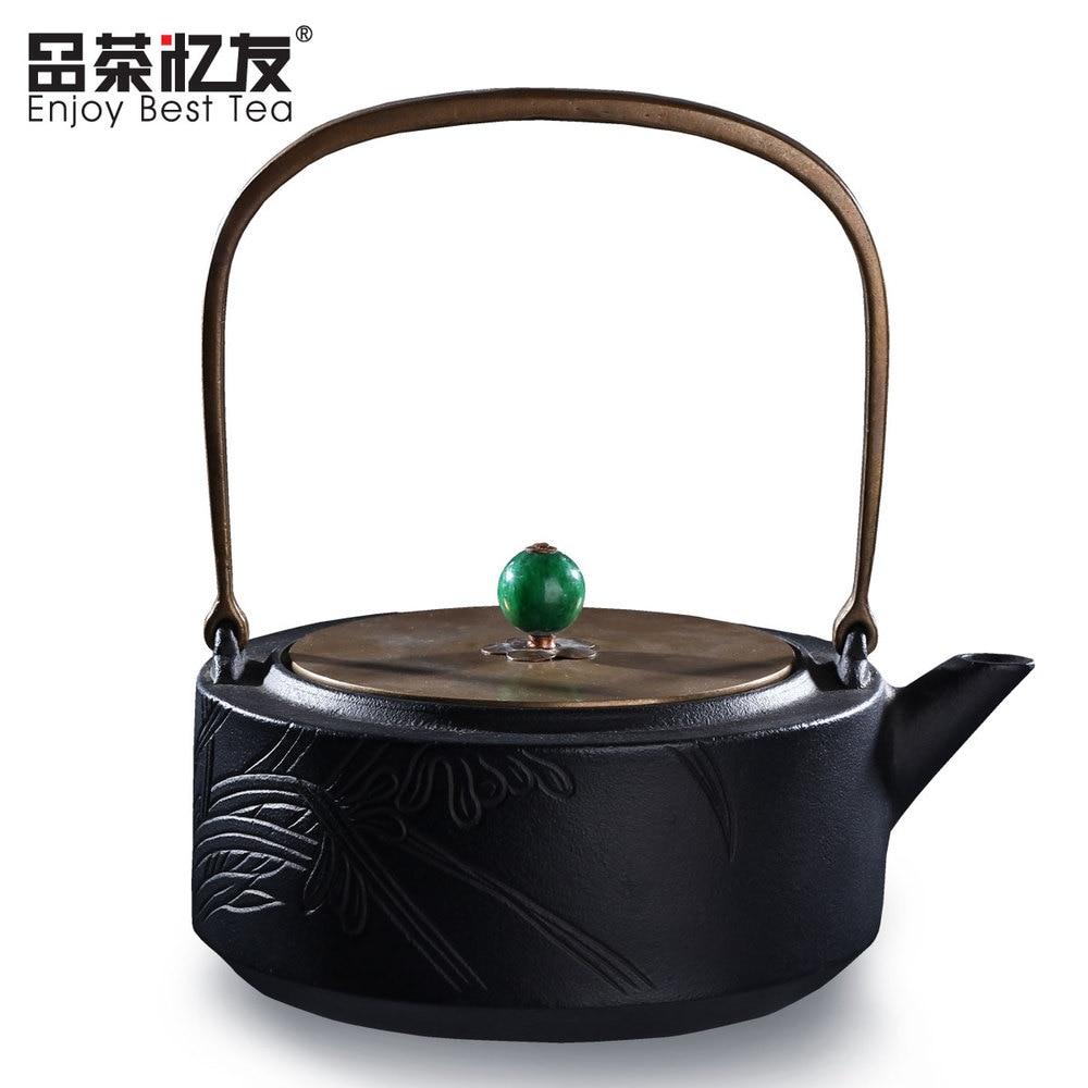 Co color cast cookware - Kung Fu Tea Set Cast Iron Teapot 2 Color Iron Tea Pot 1000ml With Metal Net Filter Green Natural Healthy Keeping Good Health