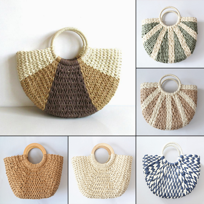 2019 Handmade Cotton Linen Beach Bag Weaving Bamboo Bag Wood Top-handle Handbags Ladies Round Straw Bag Moon Shaped Wrapped Bags