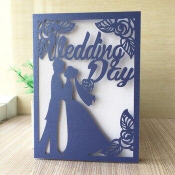 35pcs/lot Blue Flora Wedding Invitations Card Elegant Bride and Groom Invitation Card Favor Envelopes Wedding Party Decoration