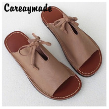 Careaymade-New Handmade 100% Cowskin Chic Womens Sandals 2019 Retro Bottom Ins Roman Leather Slippers,2 colors