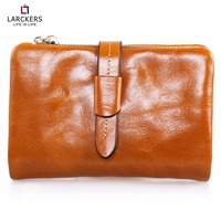 Cowhide Women Wallet Three Folds Short Size Wallet Women Shining Leather Belt Decoration Clutches Fashion Ladies
