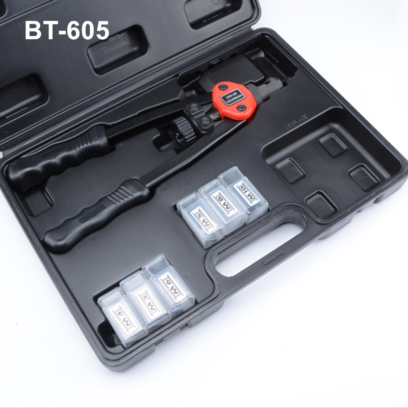 free shipping hand riveter  hot sales pull rivet nut riveting tools plastic box package M3/M4/M5/M6/M8/M10 BT605 free shipping manual rivet gun hand riveter pull rivet nut riveting tools with one die of m6 bt 605 carton package