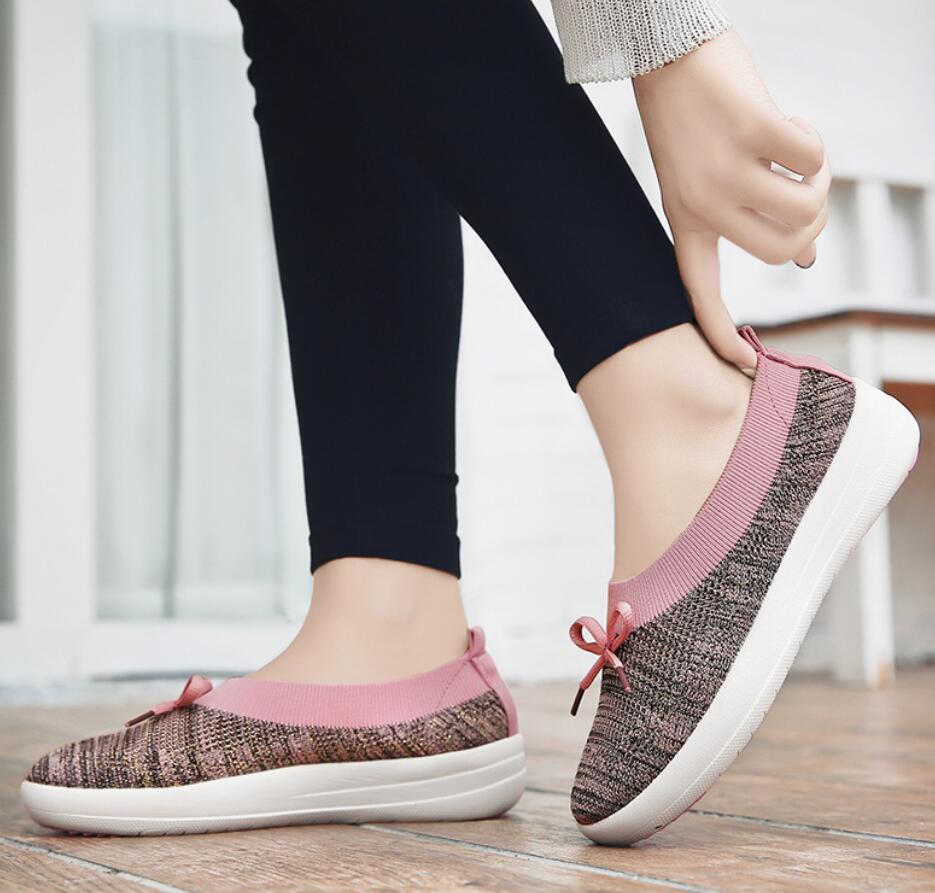 2018 new bowknot Women new Shoes spring Flats Female Women Casual Flat Shoes Slip On Colorful Shoe Mujer Breathable Mesh Female eiswelt women flats shoes comfortable flat air mesh spring summer shoes female casual fashion slip on shoes for women flats