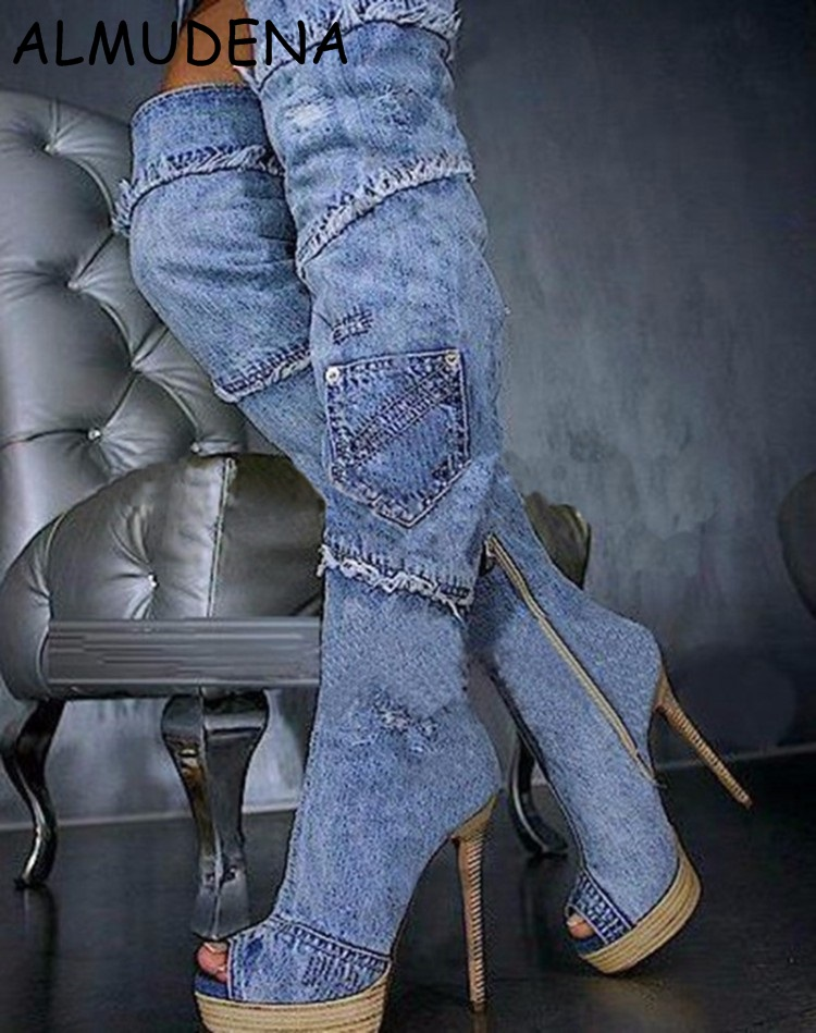 Women New Style Wood Sole Lace And Jeans Joint Long Boots Peep Toe Wedge Heel Thin Heel Casual Fashion  Women New Style Wood Sole Lace And Jeans Joint Long Boots Peep Toe Wedge Heel Thin Heel Casual Fashion