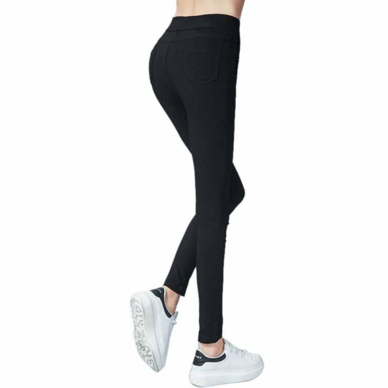 1ececb3e283 ... Plus Size Pants Autumn Winter Slim Women Pencil Pants Casual Elastic  Waist Skinny Trousers Black White ...