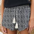 Moda feminina Chic Impresso Cordão Taseel Bowtie Solto Fit Casual Shorts Hot S/M/L/XL