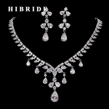 HIBRIDE New Beautiful Clear Cubic Zircon Jewelry Set Women Bridal Necklace Earring Wedding Dress Accessories N-201