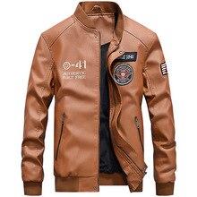 Зимние для мужчин's повседневное Бомбер куртка из искусственной кожи Мужской Военная Униформа Вышивка Бейсбол куртки мотоцикл пилот роскошн