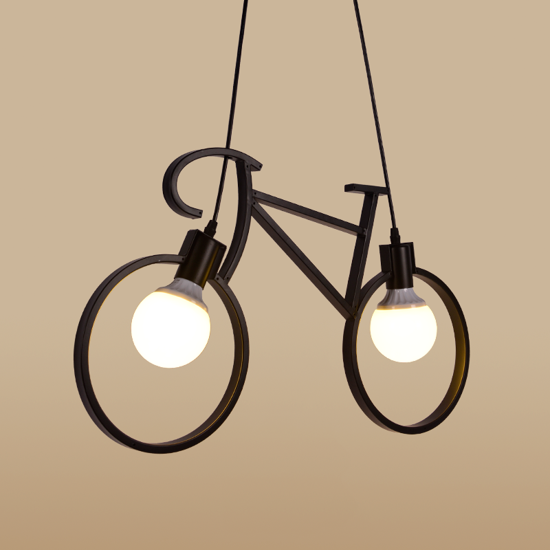 Vintage Retro Bicycle Pendan Lights Fixture Wrought Iron Loft Creative Industrial Bike Hanging Lamp Kitchen Room Cafe Restaurant