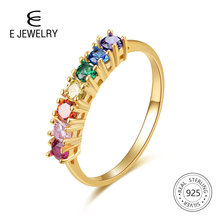 E Real Sterling Silver 925 Rainbow Ring Womens Color Cubic Zirconia Rings 14K Gold plated Eternity Wedding Rings Jewelry