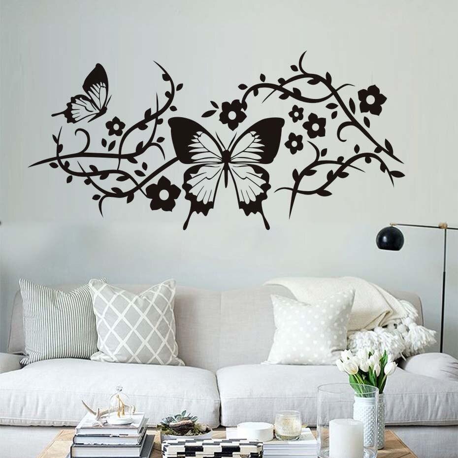 Beautiful Butterflies Wall Stickers Living Room Decorative Flowers ...