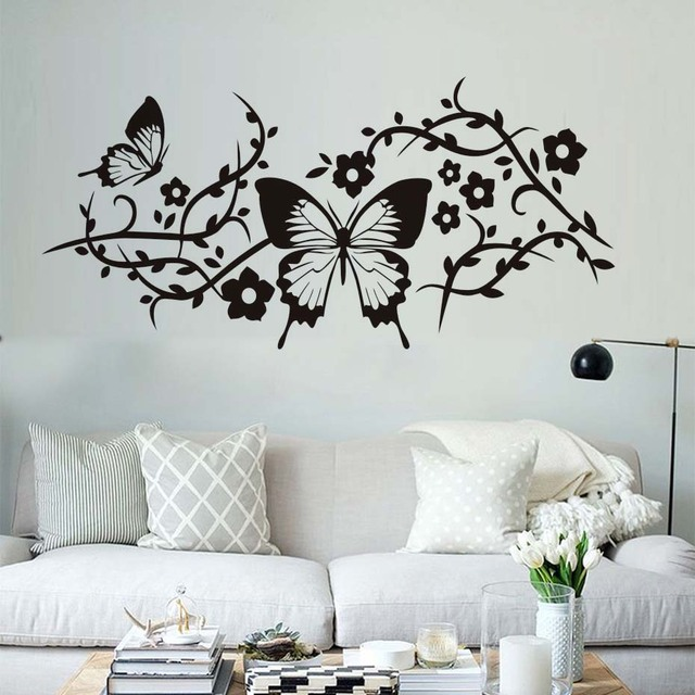 Beautiful Butterflies Wall Stickers Living Room Decorative Flowers Tree  Branch Wall Decals Vintage Home Decor