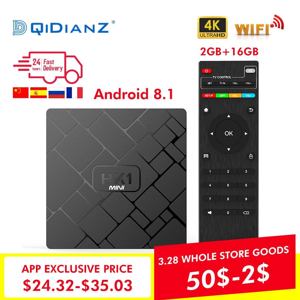 NOVO, HK1 mini Smart TV BOX Android 8.1 GB + 16 2 GB 4 RK3229 Quad-Core WI-FI 2.4G K 3D HK1mini Netflix Google Media Player Set-Top Box