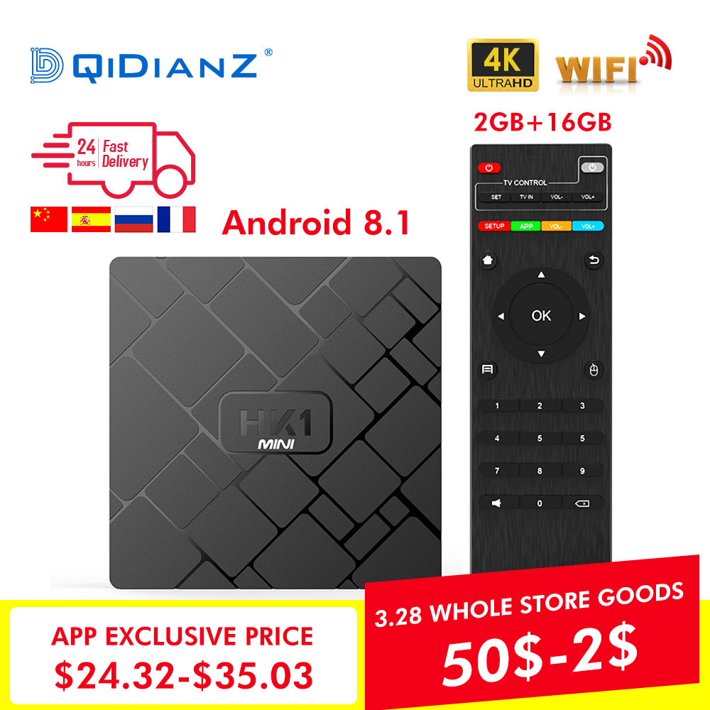 Nuevo HK1 mini caja de TV inteligente Android 8,1 2 GB + 16 GB RK3229 Quad-Core WIFI 2,4G 4 K 3D HK1mini Google Netflix reproductor de medios Set-Top Box