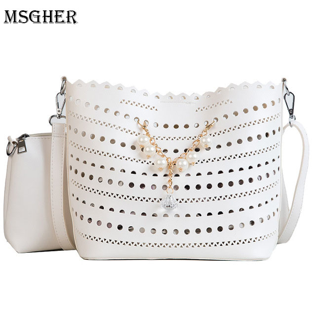 M.S Fashion Pearls Women Bags Hollow Out Leather Women Crossbody Bag Famous Brand Ladies Messenger Shoulder Bag Clutch Purse
