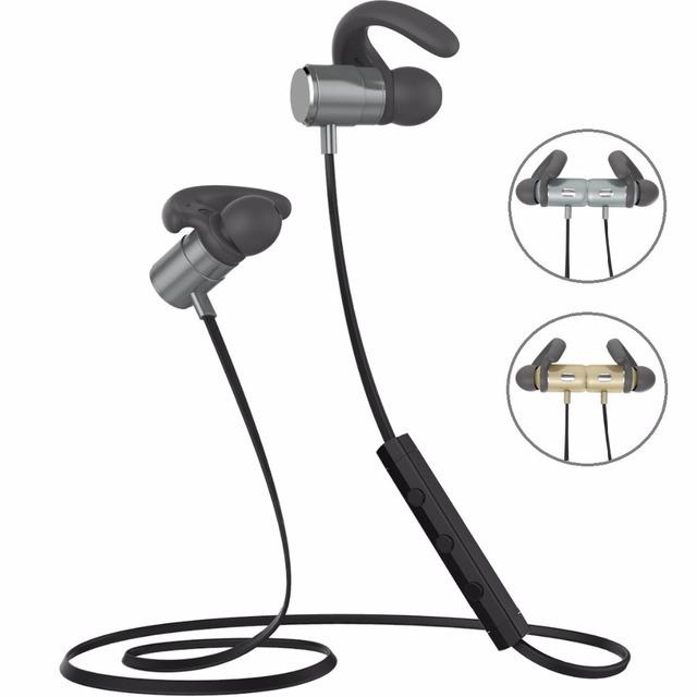 2017 Imán de Metal Deportes Auricular Inalámbrico de Auriculares Bluetooth Auricular Estéreo, Reducción de Ruido auriculares bluetooth con micrófono para el teléfono iPhone7