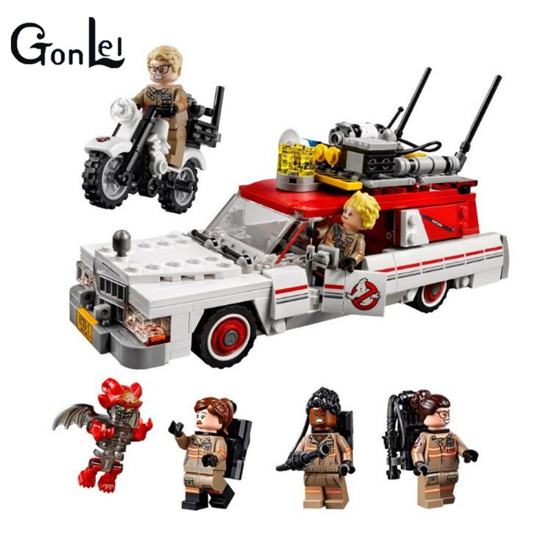 (GonLeI)16032 586Pcs New Genuine Movie Series The Ghostbusters Ecto-1&2 Set Children Educational Building Blocks Bricks To lepin 16032 586pcs new genuine movie series the ghostbusters ecto 1