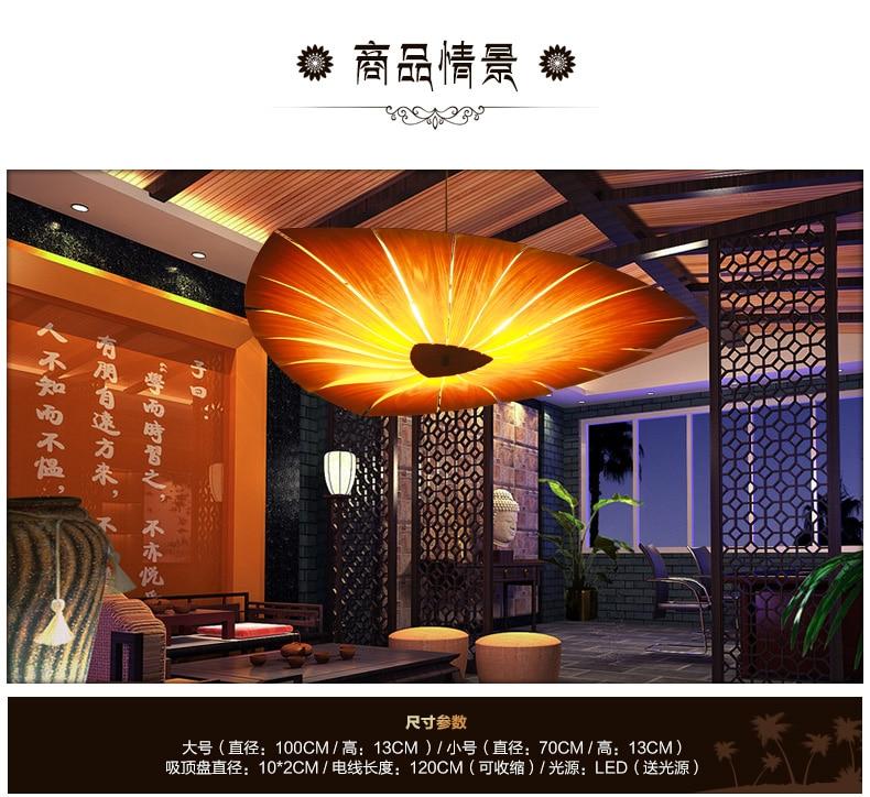Wood Veneer Southeast Asia Led Pendant Lamp Lamparas Suspension Luminaire Art Bar Restaurant Living Room hanging lighting