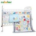 8 unids baby bedding set recién nacido cuna bedding bumpers elefante de dibujos animados de algodón/edredón/sábana ajustable/falda de la cama/manta para cuna