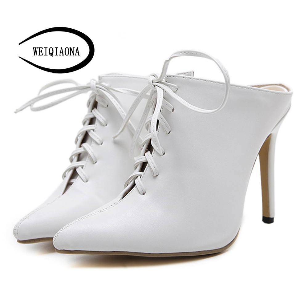 WEIQIAONA New Women Pumps Sexy High Heels pointed toe hollow ankle Party Woman stiletto Shoes Office Lady shoes new women pumps transparent wedges high heels ankle pointed toe high heels pring autumn sexy shoes woman platform pumps