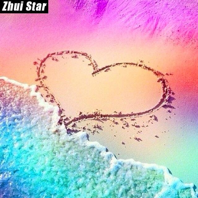 """Zhui Star Pieno di Diamanti Quadrato 5D FAI DA TE Pittura Diamante """"Ama la Spiag"""