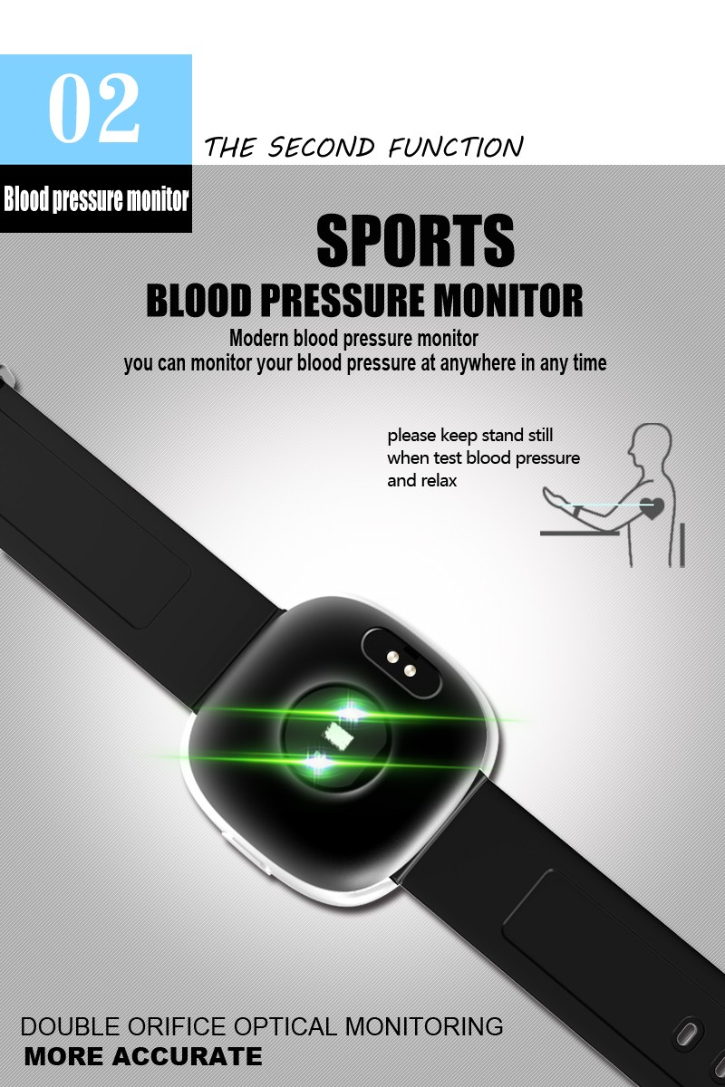 Heart Rate Monitor Smart Watches Android IP67 Waterproof Blood Pressure Tracker Wearable Devices Calories Fitness Tracker Watch (10)