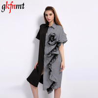 Gkfnmt Women Black White Patchwork Striped Contrast Color Sexy Shirt Dress Short Sleeve Buttons Up Ruffles