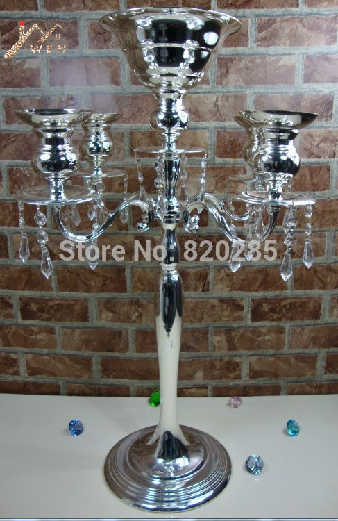 H75cm * W48cm, 5 Heads Crystal Candelabra Candle Holder wedding - Home Decor - Photo 2