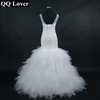 QQ Lover 2017 New African Full Beaded Floor-Length Mermaid Wedding Dresses Custom-made Plus Size Bridal Gowns With Videos