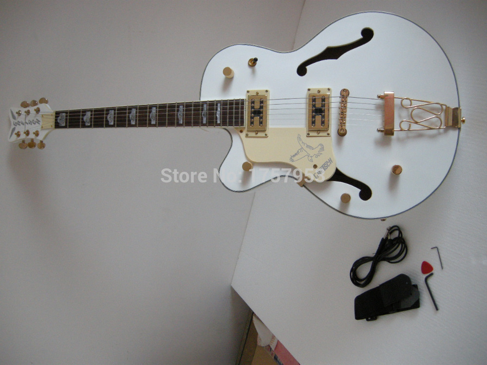 Factory custom 2017 Newest Custom Semi Hollow body Left Hand Gret sch Falcon 6120 white Electric Guitar 315