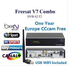 Freesat V7 Combo DVB-S2 DVB-T2 Receptor con 1 Año Europa Biss Receptor de Satélite Apoyo cccam 3 Cline PowerVu KeyNewcam