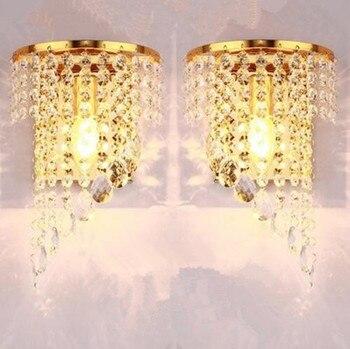 왼쪽 오른쪽 한 쌍의 빛 크롬 실버 벽 램프 sconce 골드 로비 거실 침실 머리맡 벽 램프 빛 sconce 크리스탈