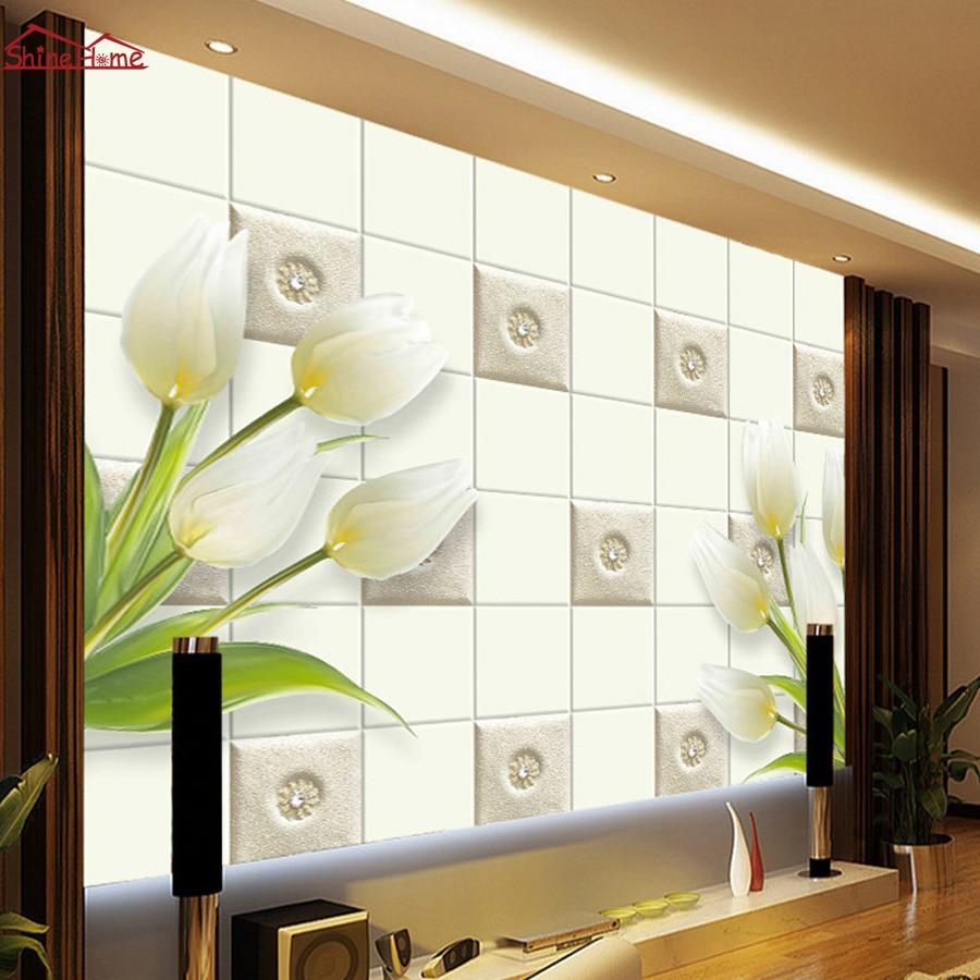 Soft Roll Floral Vinyl Wallpapers 3d Brick Wall Room Photo Wallpaper ...