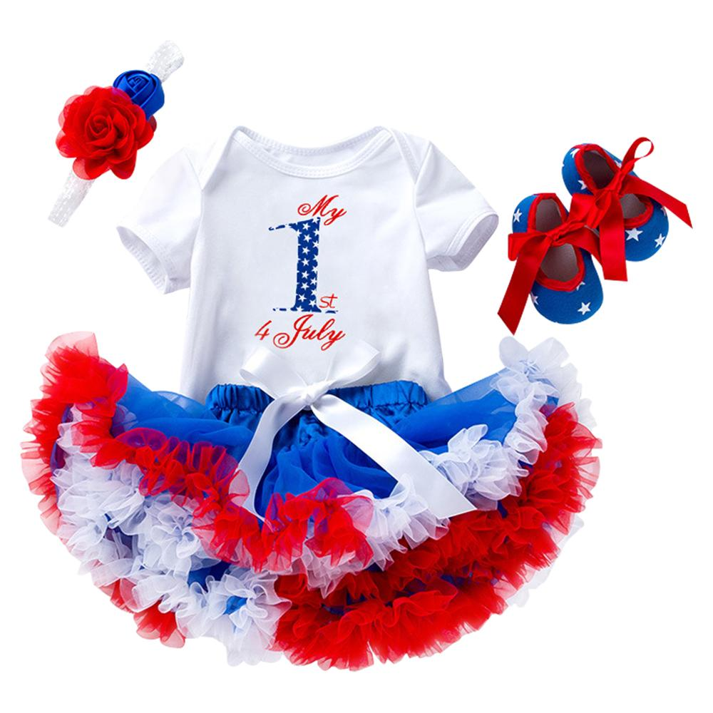 Cute 4pcs Set Baby Girl Clothes for American Independence Day Romper + Skirt + Headband + Shoes outfit for baby girl Photo ShootCute 4pcs Set Baby Girl Clothes for American Independence Day Romper + Skirt + Headband + Shoes outfit for baby girl Photo Shoot