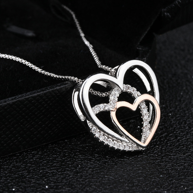 Heart Crystal Necklaces Statement Chain Necklace Woman valentines Gift 2