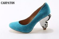 Women Newest Fashion High Heel Super High Strange Style Heels Round Toe Slip On Ladies Solid