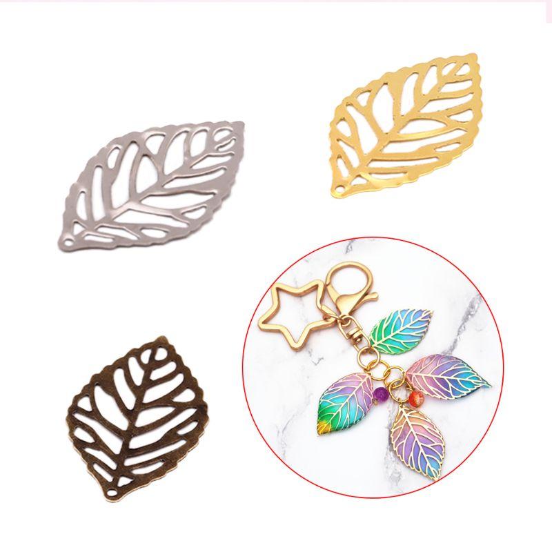 100 pcs/Pack Openwork Leaf Metal Flower Frame Pendant Charm DIY UV Resin Necklace Jewelry Making