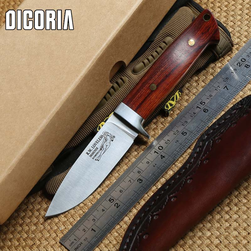 DICORIA Loveless 9cr18MOV blade wood handle fixed blade large straight knife Sheath camping outdoor survival EDC knives tools vellance classic fixed blade knife 154cm blade g10 handle outdoor survival camping knife multi tactical hiking knives edc tools