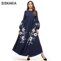 Siskakia Elegant Floral Embroidery Women Long Dress Navy Muslim High Waist Swing A line Dresses Bishop Sleeve Autumn Fall 2019
