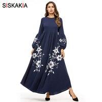 Siskakia Elegant Vintage Floral Embroidery Women Long Dress High Waist Swing A line Dresses Maxi Bishop Sleeve Autumn Fall 2018