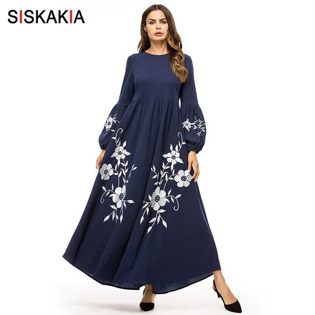 Siskakia אלגנטי פרחוני רקמת נשים ארוך שמלה כהה מוסלמי גבוהה מותניים נדנדה קו שמלות בישוף שרוול סתיו סתיו 2019