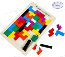 Colorful Wooden Tangram Brain Teaser Puzzle font b Toys b font Tetris Game Preschool Magination Intellectual