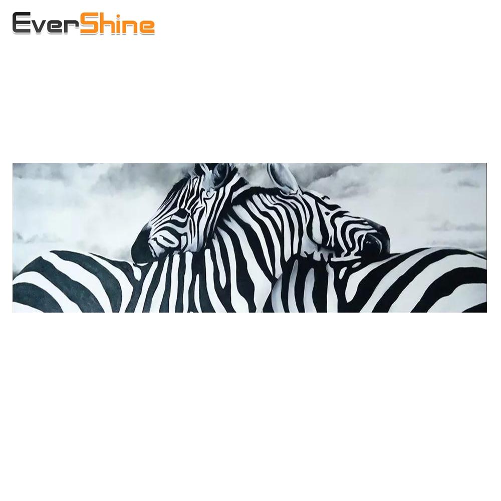 EverShine Diamond Embroidery Animals 5D Diy Diamond Painting Cross Stitch Zebra Mosaic Rhinestone Painting Home Decor Crafts|Diamond Painting Cross Stitch| |  - title=