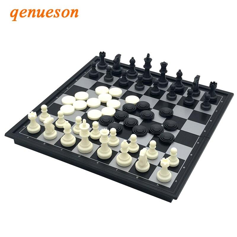 Qualidade de Xadrez e Damas Conjunto de Jogos de Tabuleiro Jogo de Xadrez Alta Folding Magnetic Dual-uso Presente Educação Entretenimento Criança Qenueson