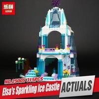 Lepin 25005 Girl Series Elsa S Sparkling Ice Castle Model Anna Elsa Queen Kristoff Olaf Building