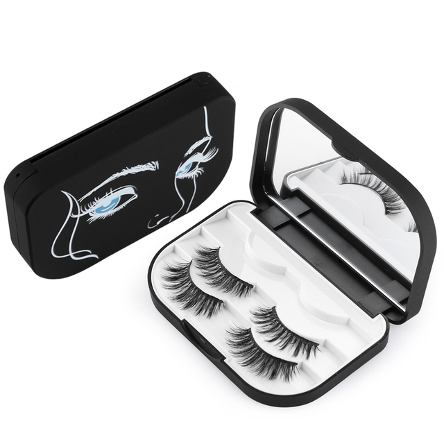 US $4 6 28% OFF|Aliexpress com : Buy 1PC Folderable Plastic 3Pairs False  Eyelashes Case Storage Mirror Magnetic Non Magnet Eye Lashes Box Organizer