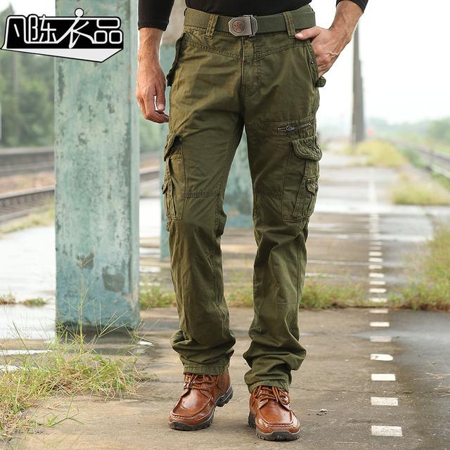 Envío de la Nueva moda Masculina de Los Hombres trajes casual bolsas de algodón lavado pantalones uniforme Militar de La Vendimia promoción de primavera