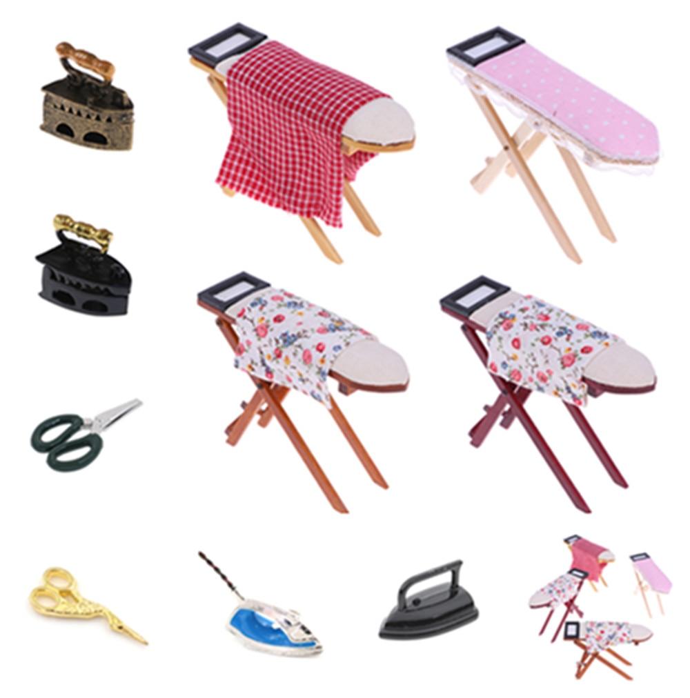 Mini Dollhouse Miniature 1:12 Toy Vintage Metal Black Iron Board Scissors Iron Clothes Tool Urniture Toys Accessories Doll House