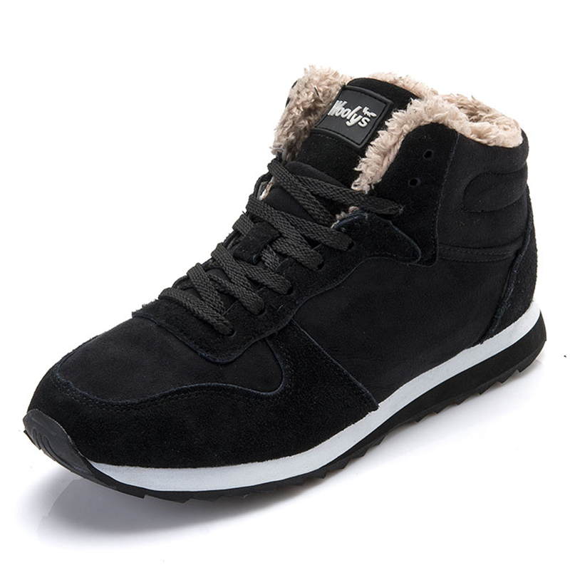 Shoes Men 2019 Winter Men Sneakers Snow Warm Fur Men Casual Shoes Lace Up Krasovki Malle Shoes Adult Sneakers Black