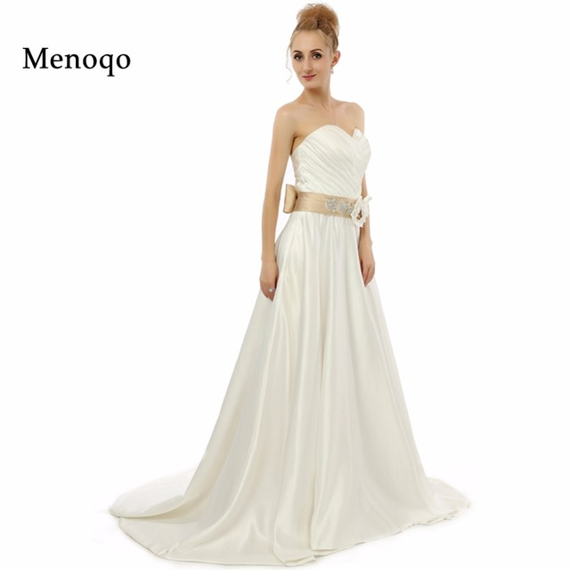 A Line Sweetheart Buttons Back Satin Bridal Dresses Custom Made Vestido De Noiva 2017 Real